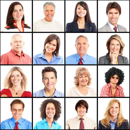femmes souriantes: Visages de personnes collage. L'homme et la femme portrait isol�.