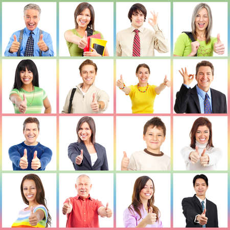 smile close up: People gesture collage. Man and woman portrait isolated. Stock Photo