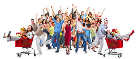Happy people group and dancing at christmas party Stock Photo - 23182629