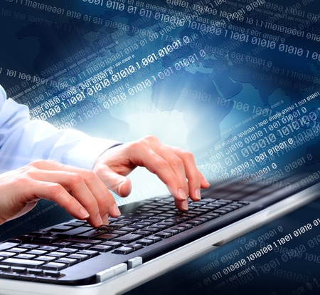Hands of business woman with  computer keyboard  Technology Stock Photo - 23182630