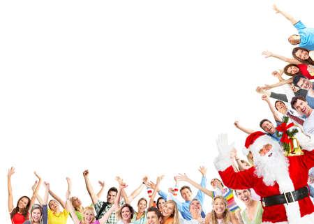Happy people group and Santa dancing at christmas party Stock Photo - 23182631