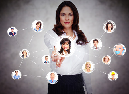 call: Woman touching virtual screen  Social media network