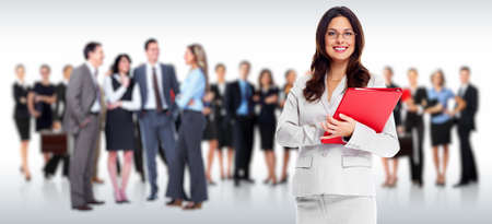 public company: Business people group. Isolated over white background. Stock Photo