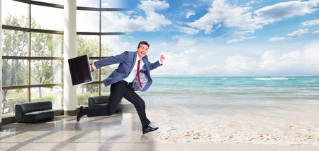Happy Man running on the beach  Vacation photo