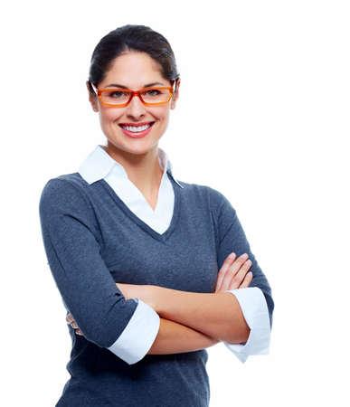 mujer: Aislado Hermosa mujer de negocios sonriente fondo blanco Foto de archivo