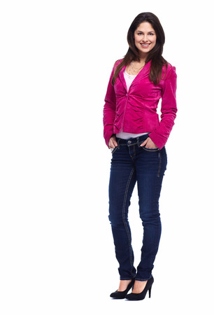 univercity: Young beautiful woman standing full over white background. Stock Photo