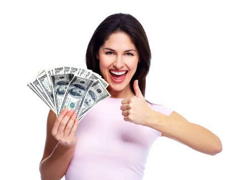 crazy woman: Happy young woman with money. Saving account concept.