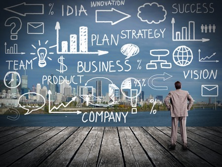 global innovation: Businessman looking at Innovation plan. Business background Stock Photo