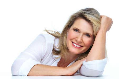 smile close up: Beautiful elderly lady closeup isolated white background. Stock Photo