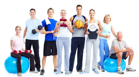 cardio: Group of fitness people  Isolated over white background