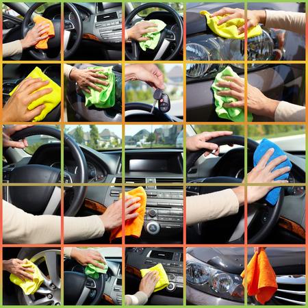 manos limpias: Mano de la mujer joven que se lava un coche.