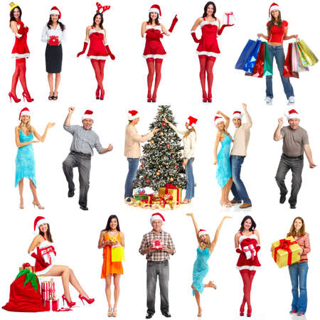 Happy Christmas people group. Isolated  white background. photo