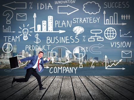 Running businessman. Innovation concept background. time Stock Photo - 24083723