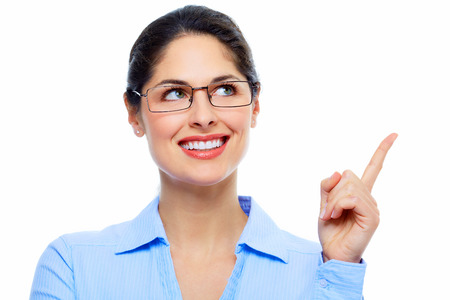 Beautiful thinking business woman isolated white background Stock Photo