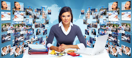teamworking: Business networking college  Globalization and technology background