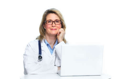 Doctor with laptop computer isolated on white background. photo