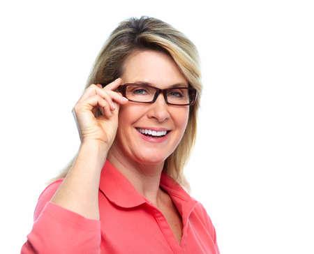 aislado en blanco: Mujer mayor con gafas aislado fondo blanco Foto de archivo