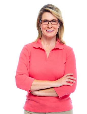 weiß: Ältere Frau mit Brille isoliert auf weißem Hintergrund Lizenzfreie Bilder