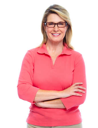 white: Senior woman with eyeglasses isolated white background