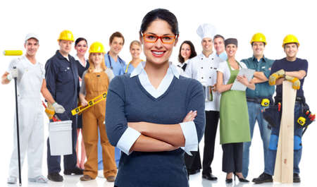company employee: Business people group isolated  Teamworking conceptual background  Stock Photo