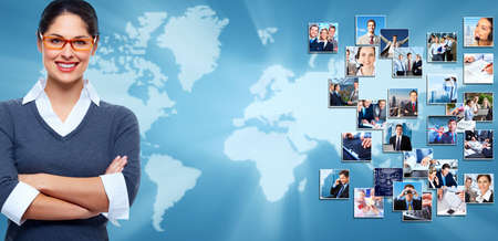 information international: Business collage background  Business people group banner