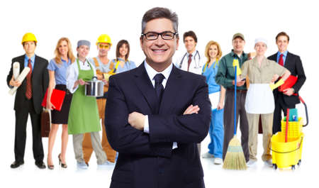teamworking: Business people group isolated  Teamworking conceptual background  Stock Photo
