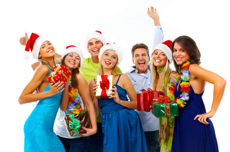 christmas backgrounds: Happy people group isolated on white background. Christmas party.