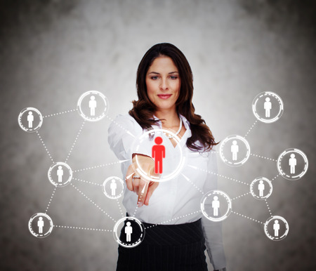 related: Woman touching virtual screen  Social media network