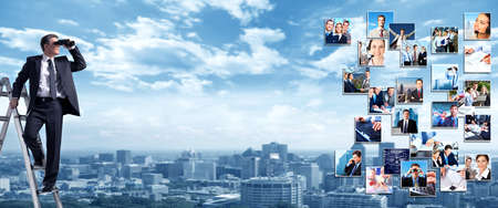 binoculars: Business people banner collage background design  Success Stock Photo