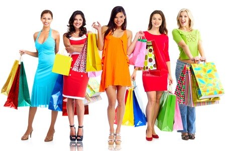 boxing day sale: Women with shopping bags isolated over white background