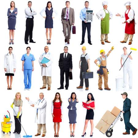 arbeiter: Beschäftigten Menschen gesetzt isoliert über weißem Hintergrund