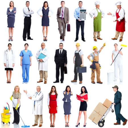 servicios publicos: Gente de los trabajadores conjunto aislado sobre fondo blanco