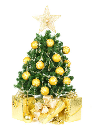 Christmas tree and gifts isolated over white background. Stock Photo - 24005403
