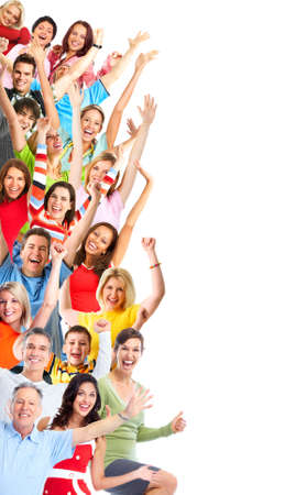 Group of happy people isolated on white background