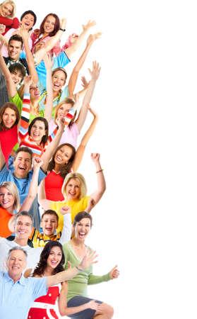 gente loca: Grupo de gente feliz aislado en fondo blanco