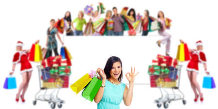 asian shopper: Woman with shopping bags over people group background Stock Photo