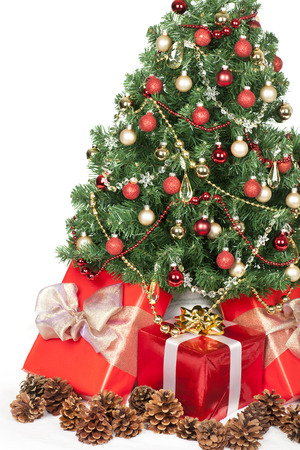 Christmas tree and gifts isolated over white background. Stock Photo - 24005470