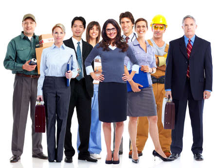 Group of employee people  Business team isolated on white background  Stock Photo