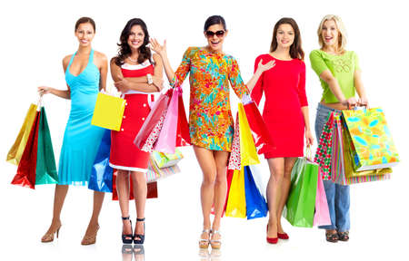 Women with shopping bags isolated over white background Stock Photo - 24099233