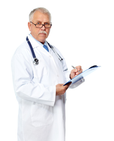 Mature doctor writing prescription isolated white background photo