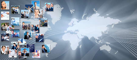 media center: Business collage background  Stock Photo