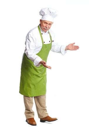 invitando: Chef invitando en el restaurante. Aislado sobre fondo blanco Foto de archivo