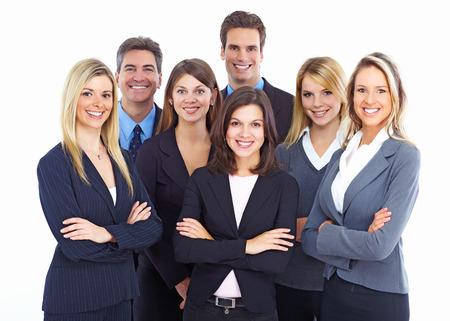 servicios publicos: Grupo de empresarios aislados sobre fondo blanco. Foto de archivo