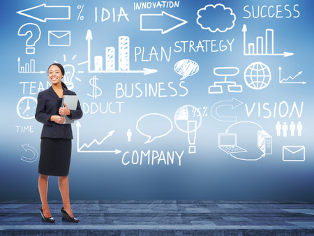 Business woman standing near Innovation plan. Success strategy background. photo