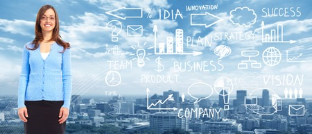 Business people banner collage background. Innovation strategy. photo