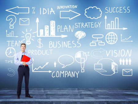 Businessman standing near Innovation plan  Success strategy background  photo
