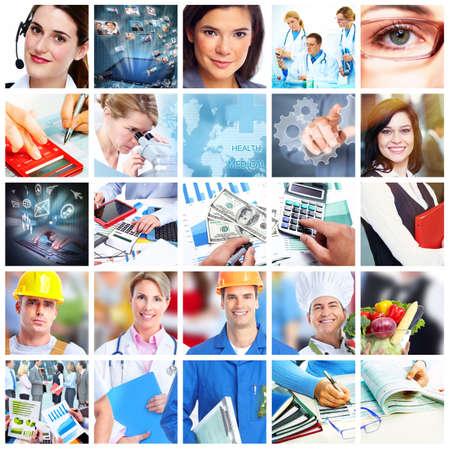 Business-Leute Collage Bilanzierungs-und Technologie-Hintergrund