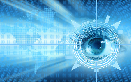 Human eye collage over technology futuristic background photo