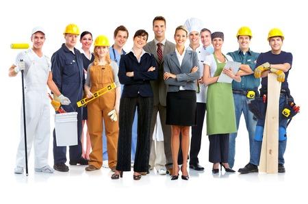 obreros: Grupo de personas de los trabajadores aislados en el fondo blanco