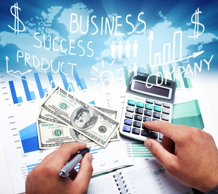 expenses: Hands of business people with calculator collage background  Stock Photo